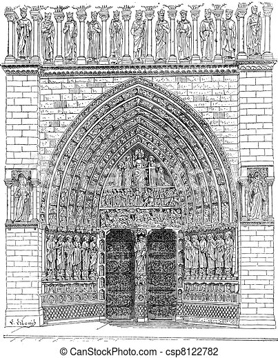 Door, Middle of the front Of Notre-Dame de Paris or Notre Dame Cathedral, vintage engraving. - csp8122782