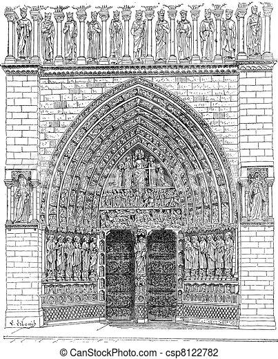 Door, Middle of the front Of Notre-Dame de Paris or Notre Dame Cathedral, vintage engraving. - csp8122782