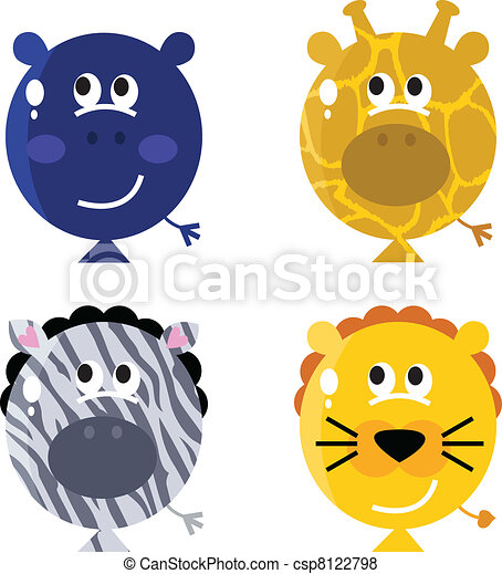 Balloon Animals Drawings Cute Animal Balloon Faces Set
