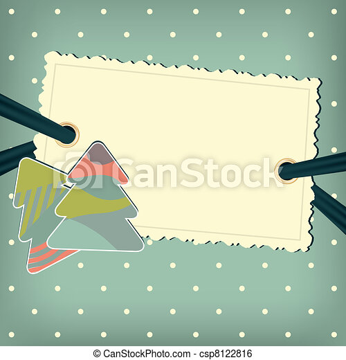 Vector greeting card with christmas trees - csp8122816