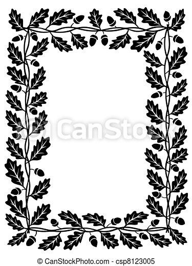 oak leaf frame black silhouette - csp8123005