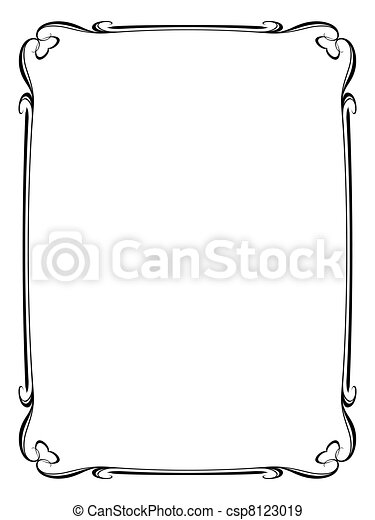 ornamental decorative frame with heart  - csp8123019