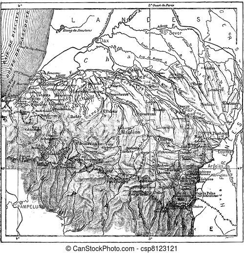 Department of Basses-Pyrenees or Pyrénées-Atlantiques, vintage engraving - csp8123121