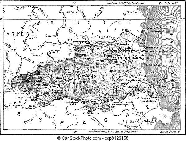 Department of the Eastern Pyrenees, vintage engraving. - csp8123158