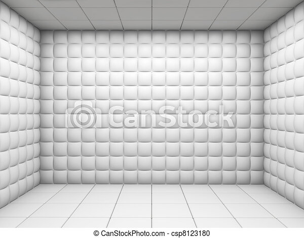 White empty padded room - csp8123180