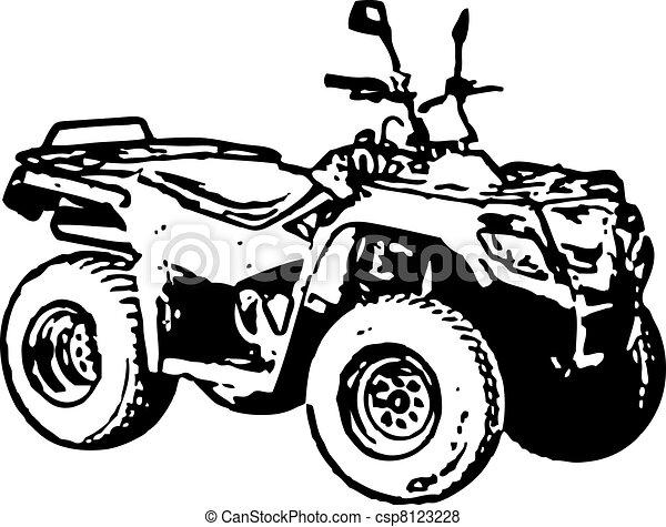 Four-wheel motorbike ATV. Vector. - csp8123228