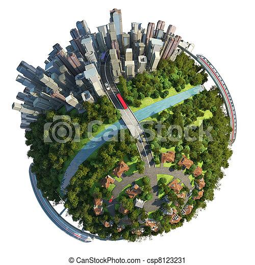 Suburbs and city globe concept - csp8123231