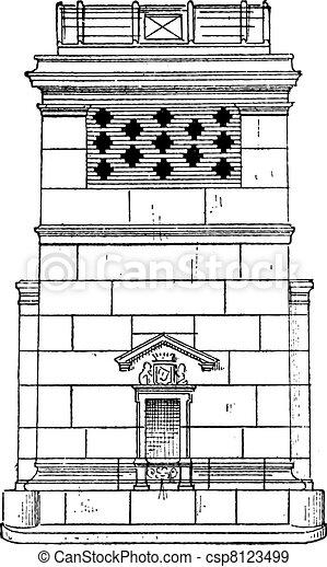 Reservoir, vintage engraving. - csp8123499