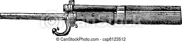 Repeating firearm, The bayonet mount rifle Lebel, vintage engraving. - csp8123512