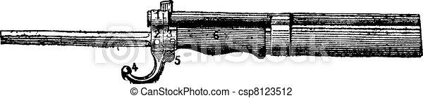 Repeating firearm, The bayonet mount rifle Lebel, vintage engraving. - csp8123512