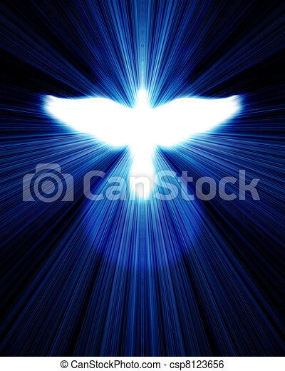 glowing dove against blue rays - csp8123656