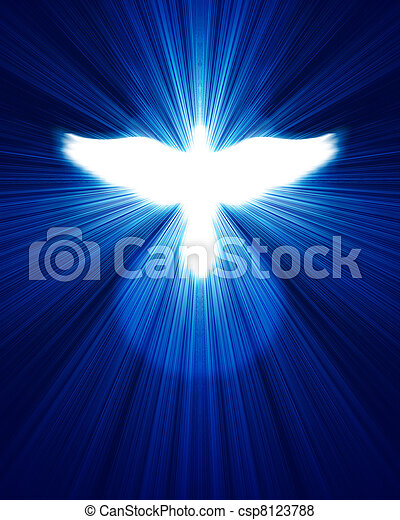 glowing dove against blue rays - csp8123788