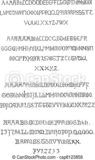 Inscriptions, Alphabet in the fourteenth century (Gothic Rounded), vintage engraving. - csp8123856