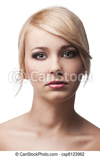 blond young girl with stylish, she is in front of the camera - csp8123962