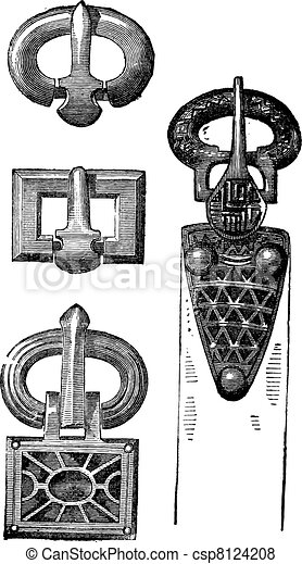 Old belt buckles of Merovingians vintage engraving - csp8124208