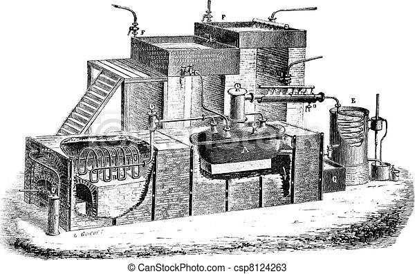 The Dutch type water distillation apparatus vintage engraving - csp8124263