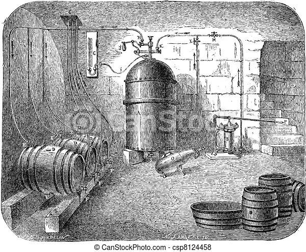 Beer pumps vintage engraving - csp8124458