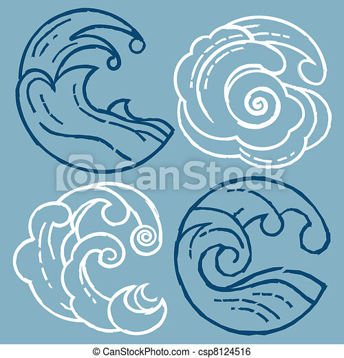 Woodcut Waves - csp8124516
