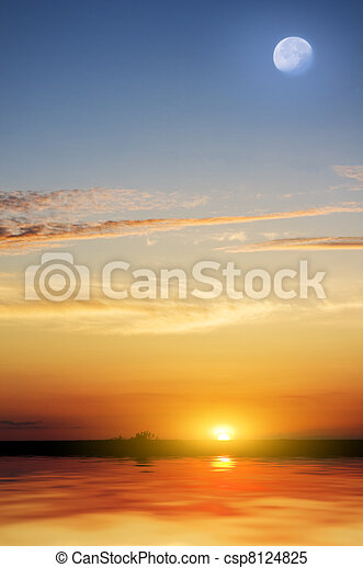 Tropical beach at beautiful sunset. - csp8124825