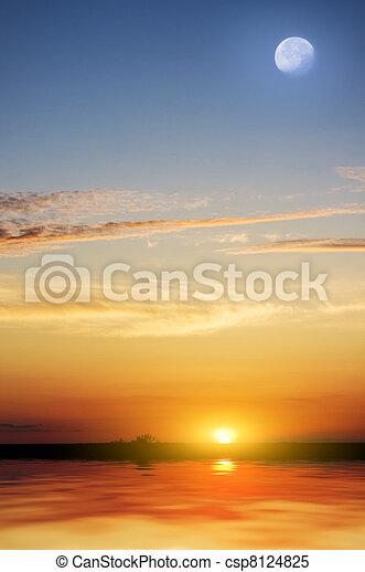 Tropical beach at beautiful sunset. - csp8124825