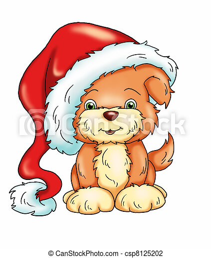 Clip Art of Christmas dog - colored illustration of a dog with the ...