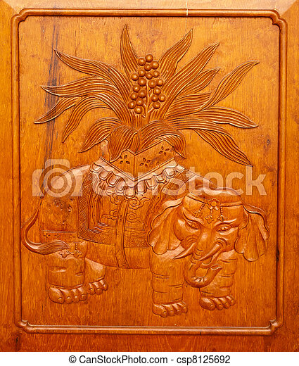 Wooden Elephant Panel Door Jing An Temple Shanghai China - csp8125692