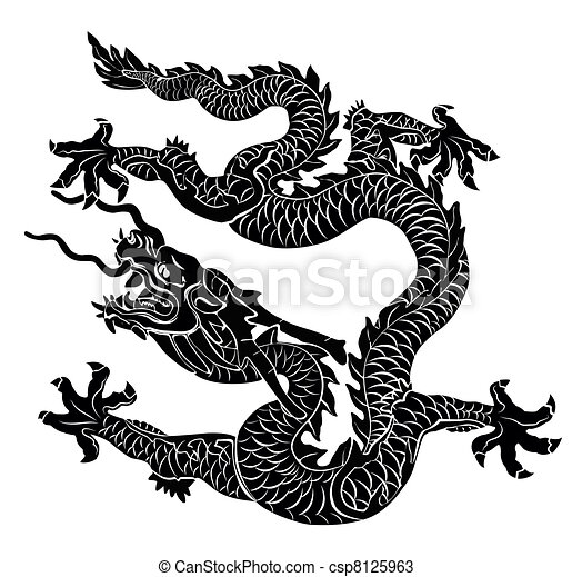 Black dragon isolated. Vector illus - csp8125963