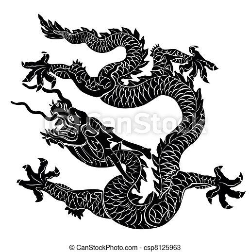 Black dragon isolated. Vector illus - csp8125963