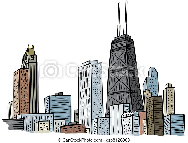 Chicago Skyline Drawings Chicago Csp8126003