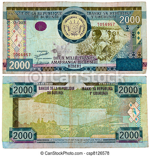 BURUNDI - CIRCA 2008. Banknote 2000 Francs issued by Central Bank of Burundi in 2008. - csp8126578