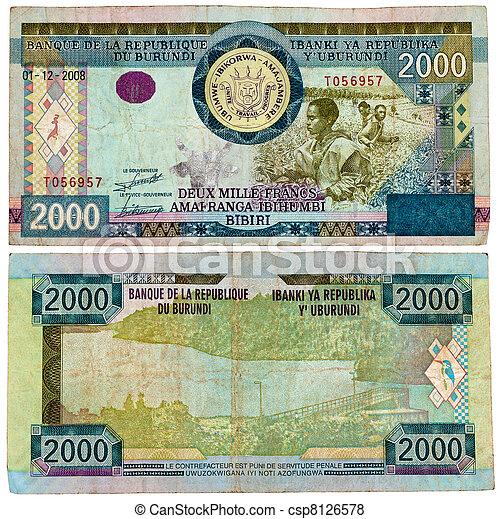 BURUNDI - CIRCA 2008. Banknote 2000 Francs issued by Central Bank of Burundi in 2008. - csp8126578