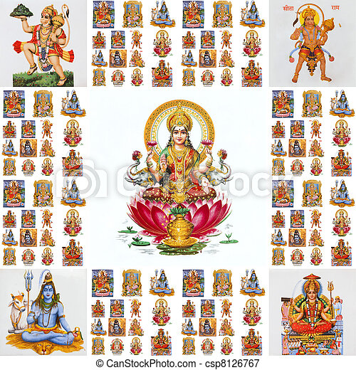 collage with hindu gods  - csp8126767