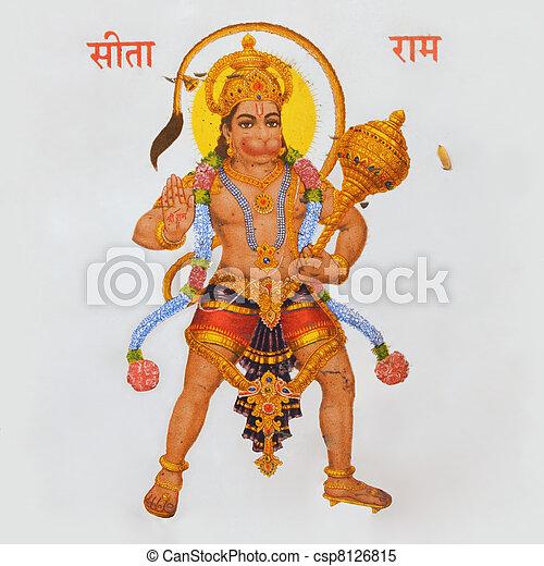 image of hindu god Hanuman - csp8126815