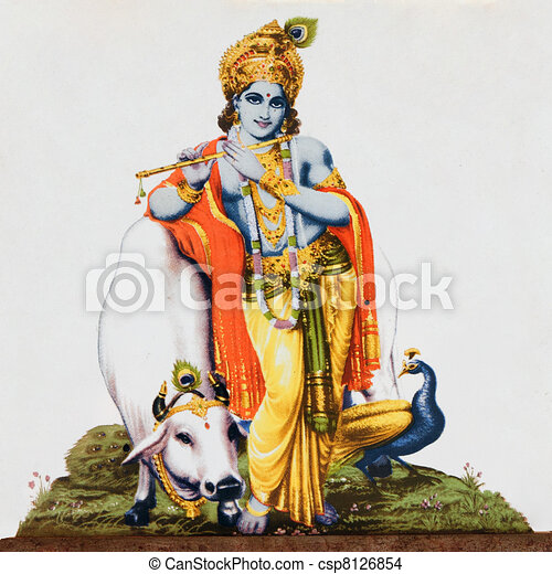 God Krishna With Cow God Krishna Stock Photo