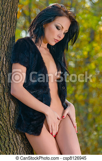 Stock Photo - natural nude beauty posing outside in the nature