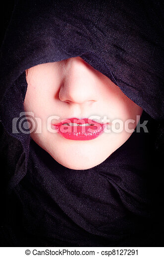 Part of a woman's face with black hood - csp8127291