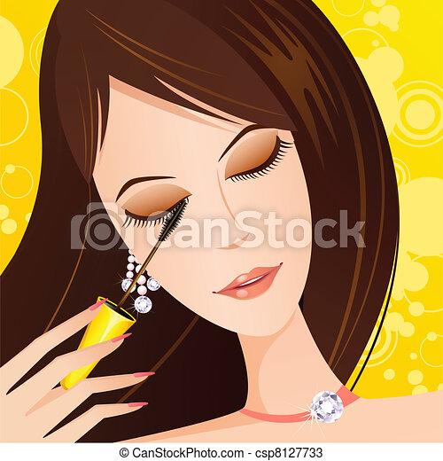 Lady applying eye Mascara - csp8127733