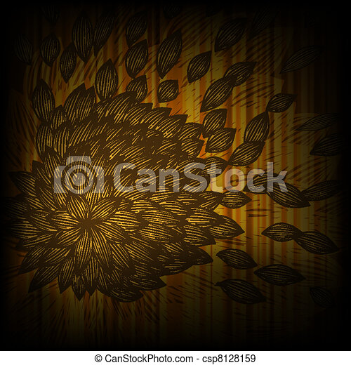 vector background with abstract yellow flower with blown petals - csp8128159
