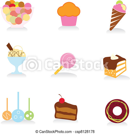food and desserts icons - csp8128178