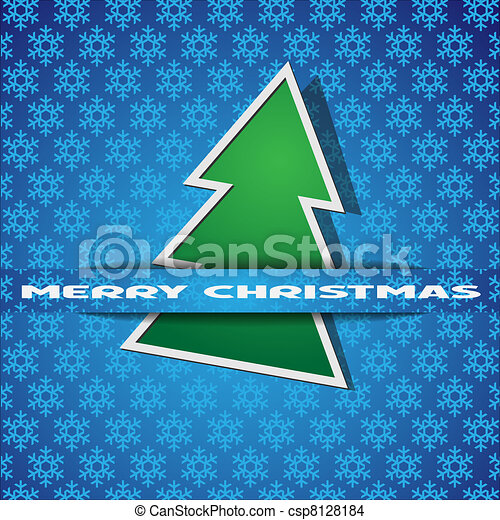 Green Christmas tree-applique - csp8128184