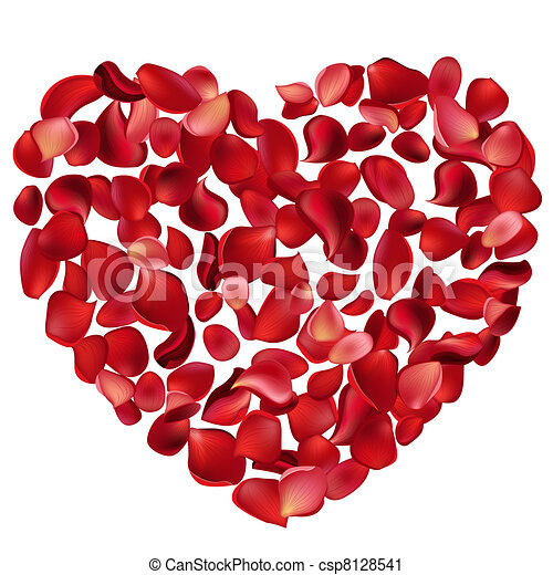 Big heart made of red rose petals - csp8128541