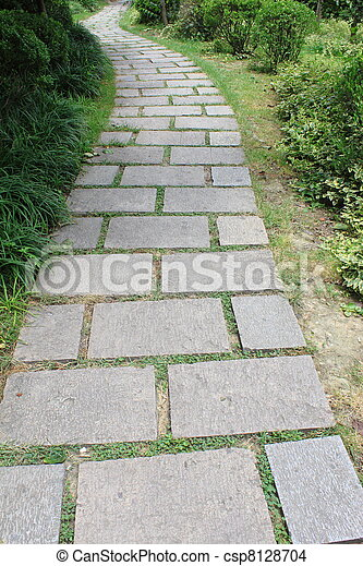 Photo troit long jardin brique sentier image for Jardin etroit long