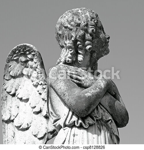 antique cemetery angel figure - csp8128826