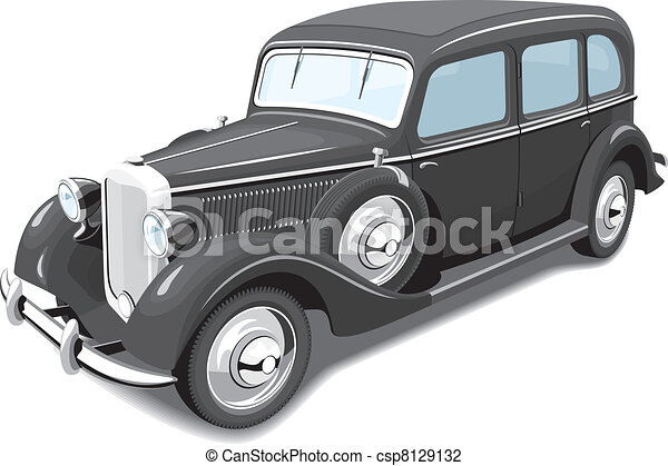 Black retro car - csp8129132