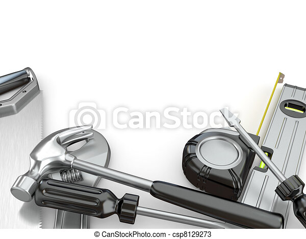 Tools. Hammer, screwdriver, wrench and other - csp8129273