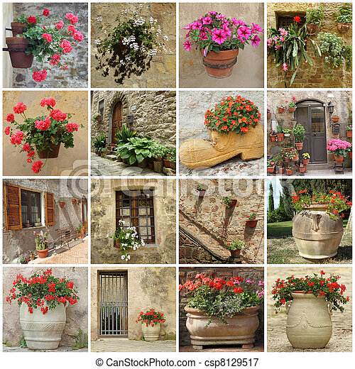 gardening collage  - csp8129517