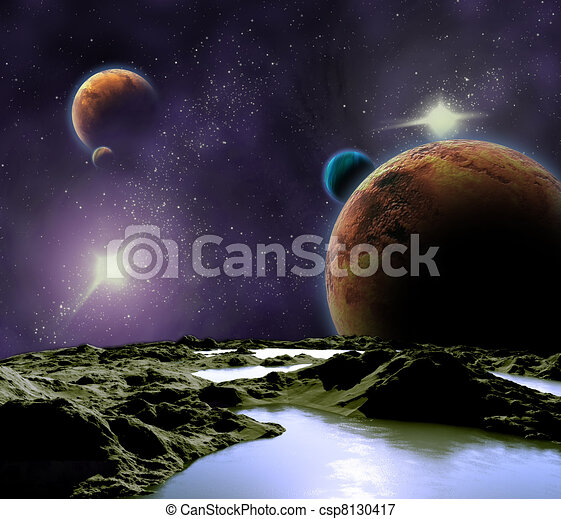 Abstract image of a planet with water. Find new sources and technologies. The future of travel to distant planets. - csp8130417