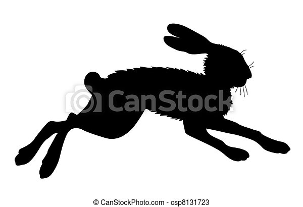 hare silhouette on white background, vector illustration - csp8131723