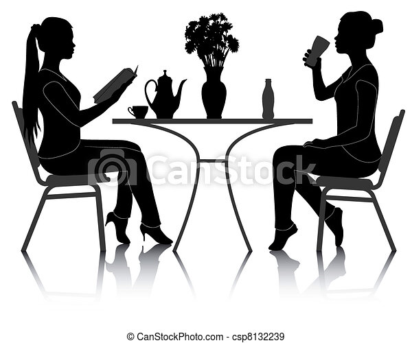 two girls at a table in a cafe - csp8132239