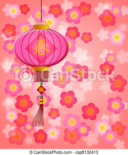 Chinese New Year Lantern with Cherry Blossom Background - csp8132413